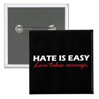 Hate is easy [black]. 2 inch square button