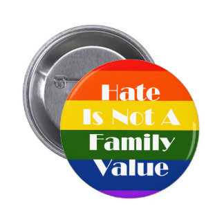 Hate Is Not A Family Value Pinback Button