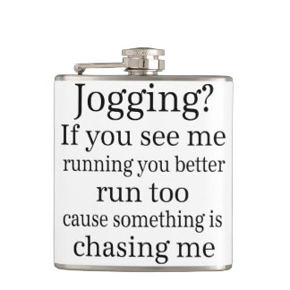 Hate Jogging Quote Hip Flask