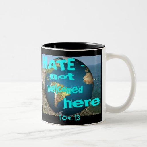 HATE - not welcomed here Two-Tone Coffee Mug