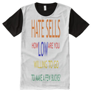 Hate Sells All-Over Printed Panel T-Shirt, L All-Over-Print T-Shirt
