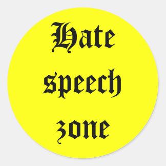 Hate speech zone classic round sticker