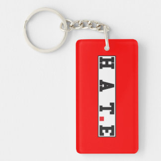 hate text message emotion feeling red dot square keychain