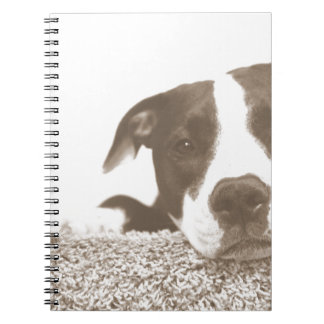 hate the deed not the breed friendly pitbull sepia notebook