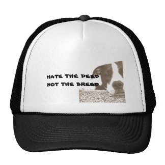 hate the deed not the breed friendly pitbull sepia trucker hat