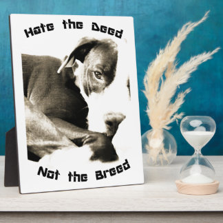 hate the deed not the breed pitbull photo plaques