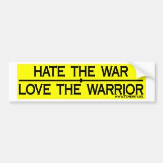 HATE THE WAR LOVE THE WARRIOR BUMPER STICKER