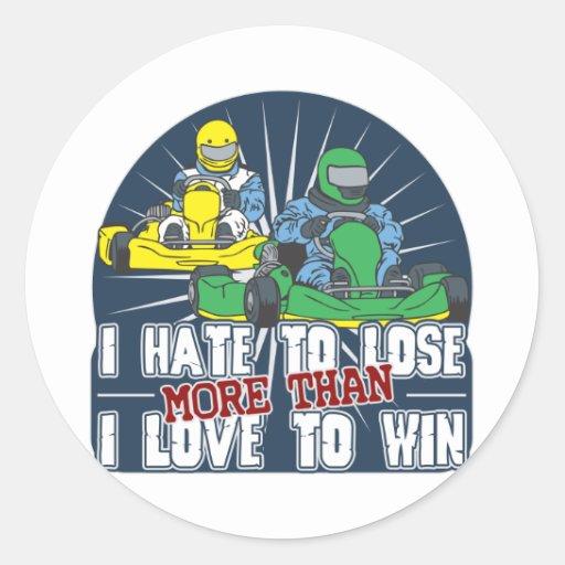 Hate to Lose Kart Classic Round Sticker