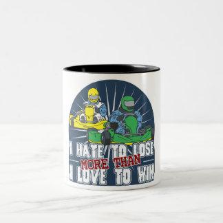 Hate to Lose Kart Two-Tone Coffee Mug