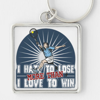 Hate to Lose Mens Tennis Keychain