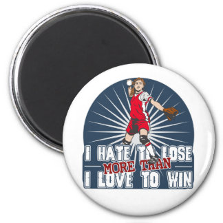Hate to Lose Softball 2 Inch Round Magnet