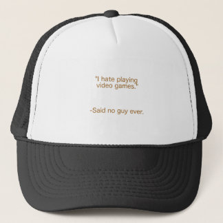 Hate Video Games Said No Guy Yellow Brown Green Trucker Hat