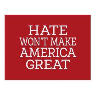 Hate Won't Make America Great Postcard