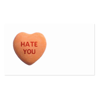 Hate You Orange Candy Heart Business Card Template