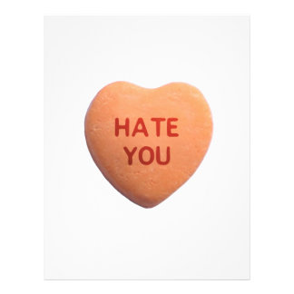 Hate You Orange Candy Heart Personalized Flyer