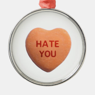 Hate You Orange Candy Heart Metal Ornament
