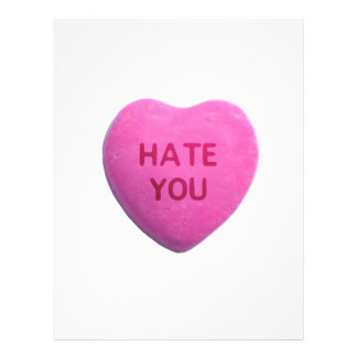 Hate You Pink Candy Heart Flyers