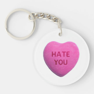 Hate You Pink Candy Heart Keychain