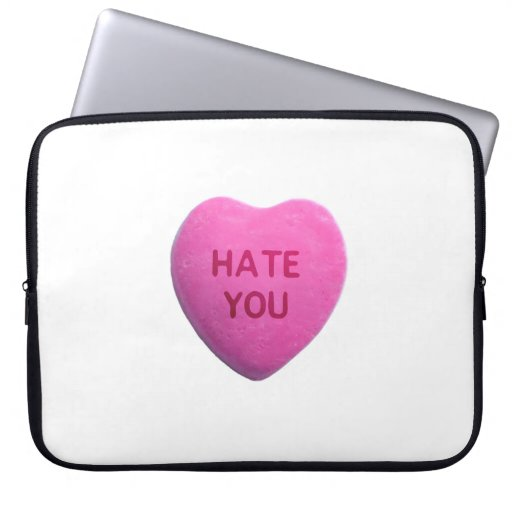 Hate You Pink Candy Heart Laptop Sleeve