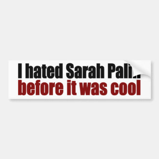 Hated Palin before it was cool Car Bumper Sticker