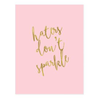 Haters Don't Sparkle Quote Faux Gold Foil Glitter Postcard
