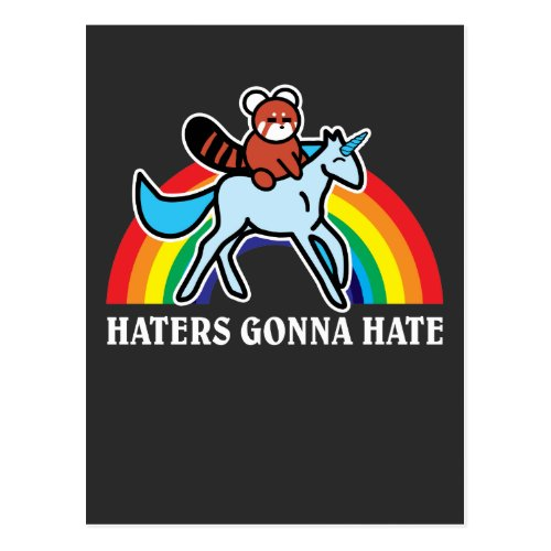 Haters Gonna Hate Funny Red Panda Riding Unicorn Postcard