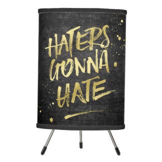 Haters Gonna Hate Gold Glitter Grunge Chalkboard Tripod Lamp