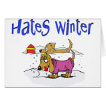 Hates Winter dogs Cards