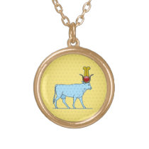 Hathor, Ancient Egyptian Goddess Gold Plated Necklace