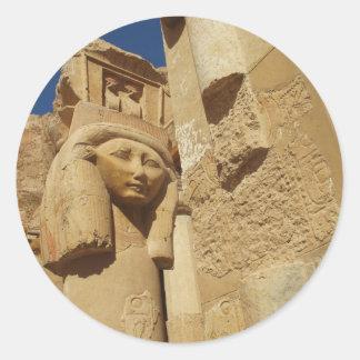 Hathor column - Queen Hatshepsut's Temple, egypt Classic Round Sticker