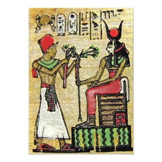 """Hathor, diosa egipcia, rama del sicómoro en Thron Invitación 5"""" X 7"""""""