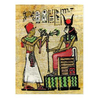 Hathor, diosa egipcia, rama del sicómoro en Thron Postal