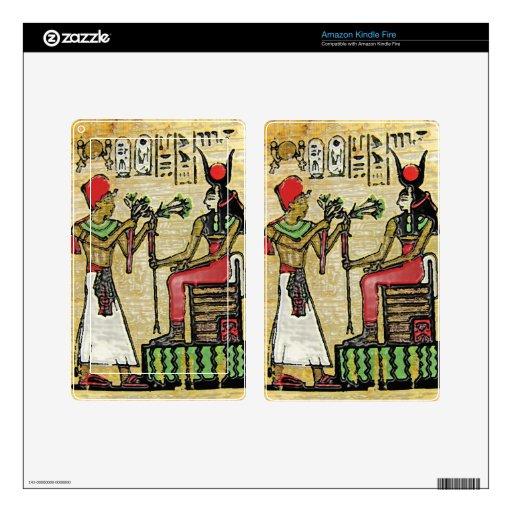 Hathor, Egyptian Goddess, Sycamore Branch on Thron Kindle Fire Skins