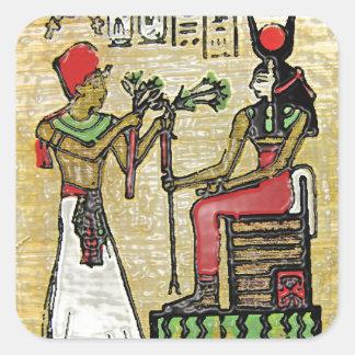Hathor, Egyptian Goddess, Sycamore Branch on Thron Square Sticker