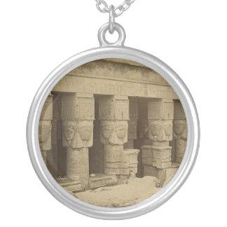 Hathor Temple, Egypt circa 1867 Round Pendant Necklace