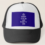 """Hats<br><div class=""""desc"""">Based on the original Keep Calm and ...  poster this cream and blue Keep Calm and Party On Hat features a custom designed font that matches the original closely.</div>"""