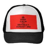 [Crown] keep calm my birthday august 3rd  Hats