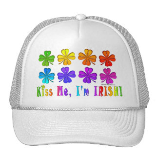 Hats, Caps - Pop Art SHAMROCKS