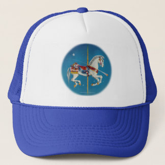 Hats, Caps - Red, White & Blue Carousel Horse