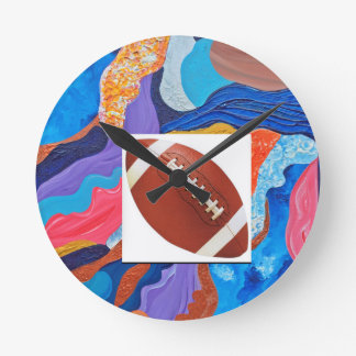 Hats Football Round Clock