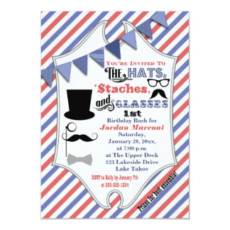 "Hats, Mustaches, and Glasses 1st Birthday Invite 5"" X 7"" Invitation Card"