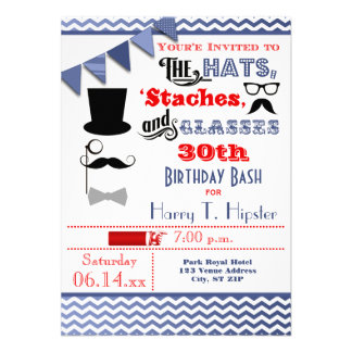 Hats Mustaches and Glasses 30th Birthday Invite