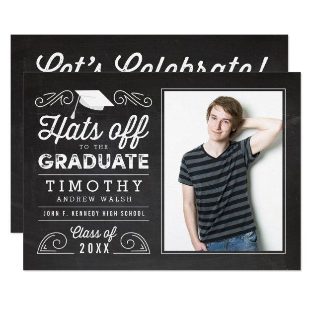Hats Off Graduation Chalkboard Invitation