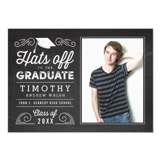 Hats Off Graduation Chalkboard Invitation (back side)