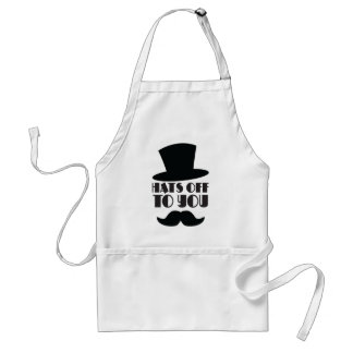 HATS off to you! with Top hat and moustache Adult Apron