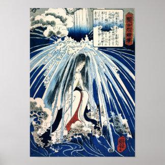 Hatsuhana debajo de la cascada de Tonosawa Posters
