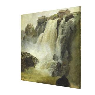 Haugfoss in Norway, 1827 Canvas Print
