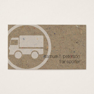 Haulage Transporter TruckIcon Natural PaperTexture Business Card