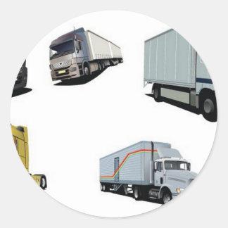 Haulage trucks design classic round sticker