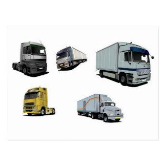 Haulage trucks design postcard